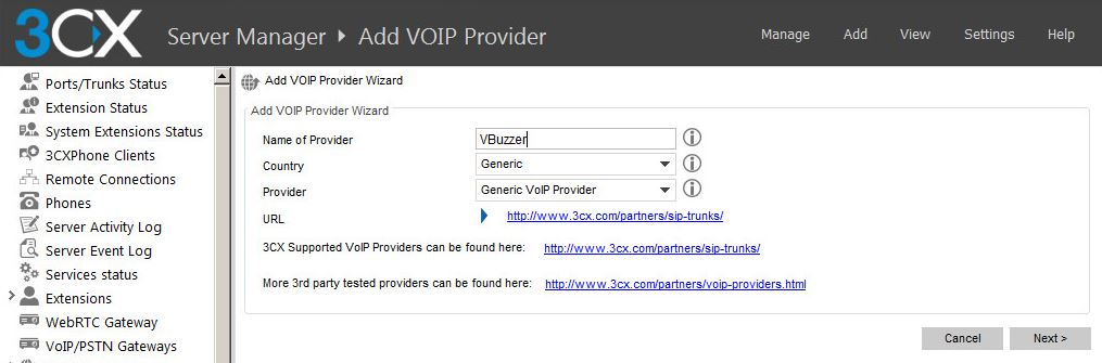 3CX add VBuzzer as a VOIP Provider