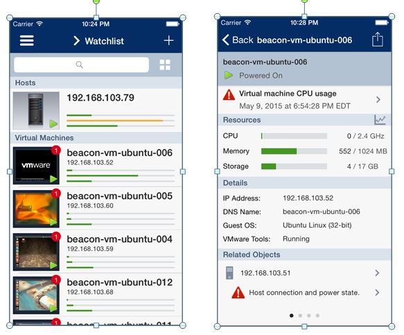 VMware vSphere Mobile Watchlist Monitoring