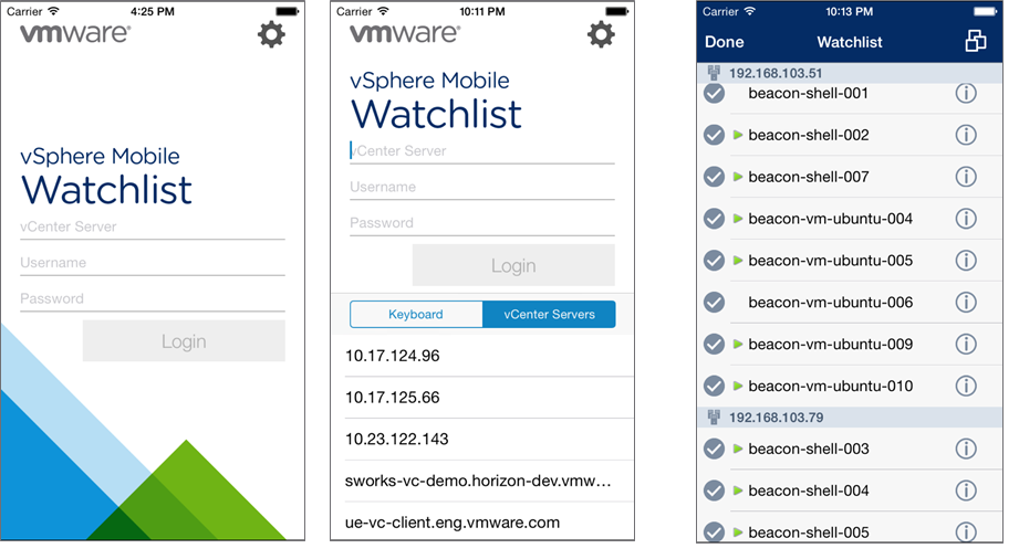 vSphere Mobile Watchlist interface