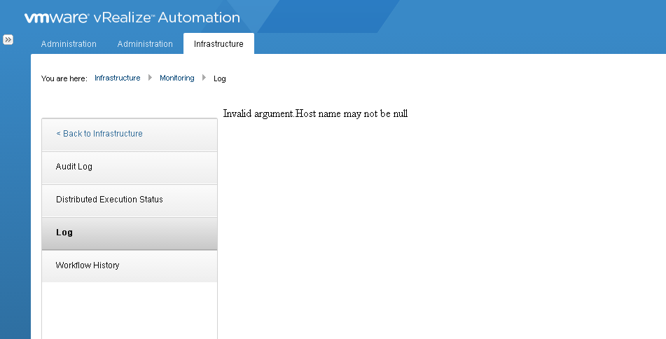 vra Infrastructure tab Invalid Argument Host name may not be null