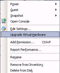Upgrade Virtual Machine Hardware