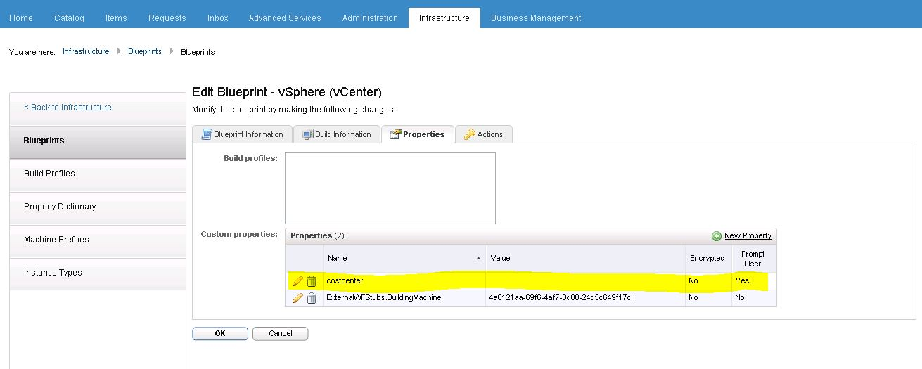 vrealize automation 62 costcenter custom property
