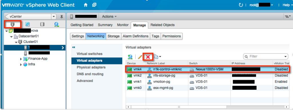 Delete n1k-control-vmknic in L3 communication mode VSM to VEM