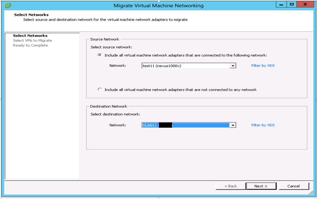 Migrate VMs from Nexus 1000v to vDS