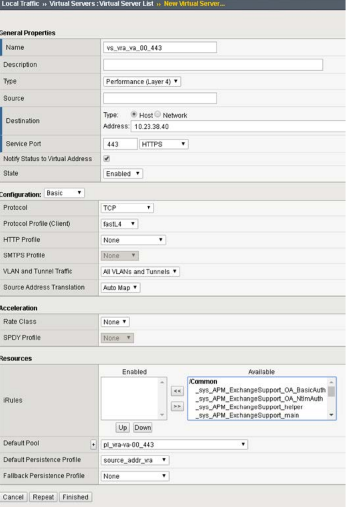 F5 Virtual Servers Configuration for vRealize Automation 7