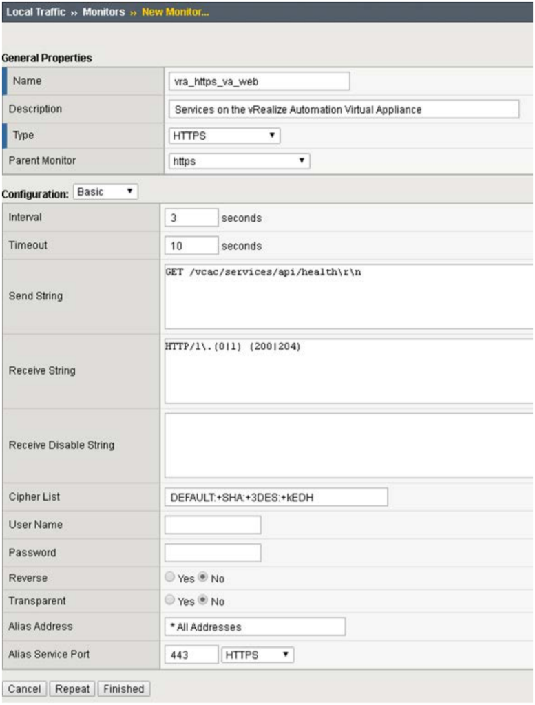 Setting up vRA 7 Health Monitors in F5 Load balancer