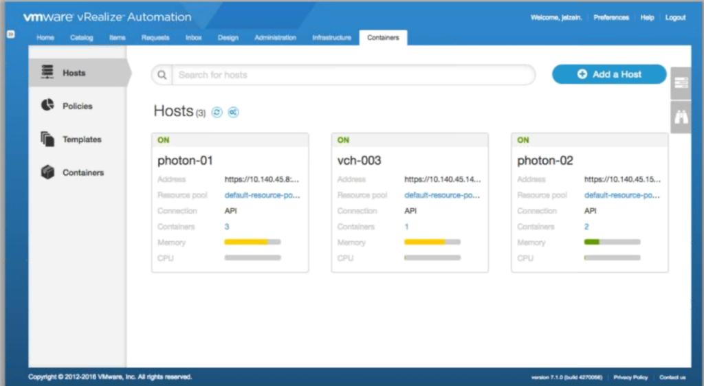 vRealize Automation Admiral Container Integration