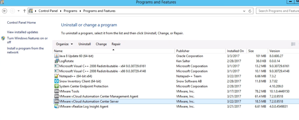 Remove the VMware vCloud Automation Center Server from Program and features