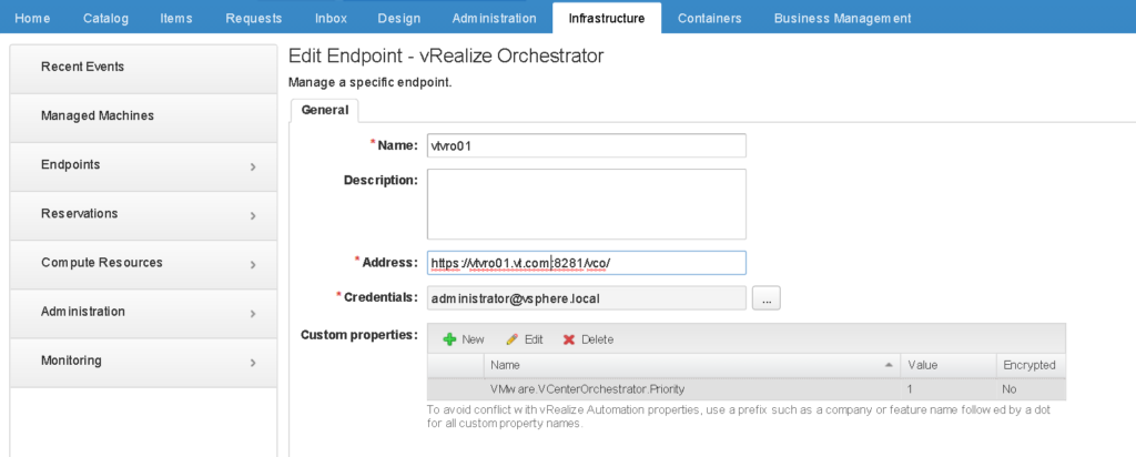 Configure vRO Endpoint in vRA