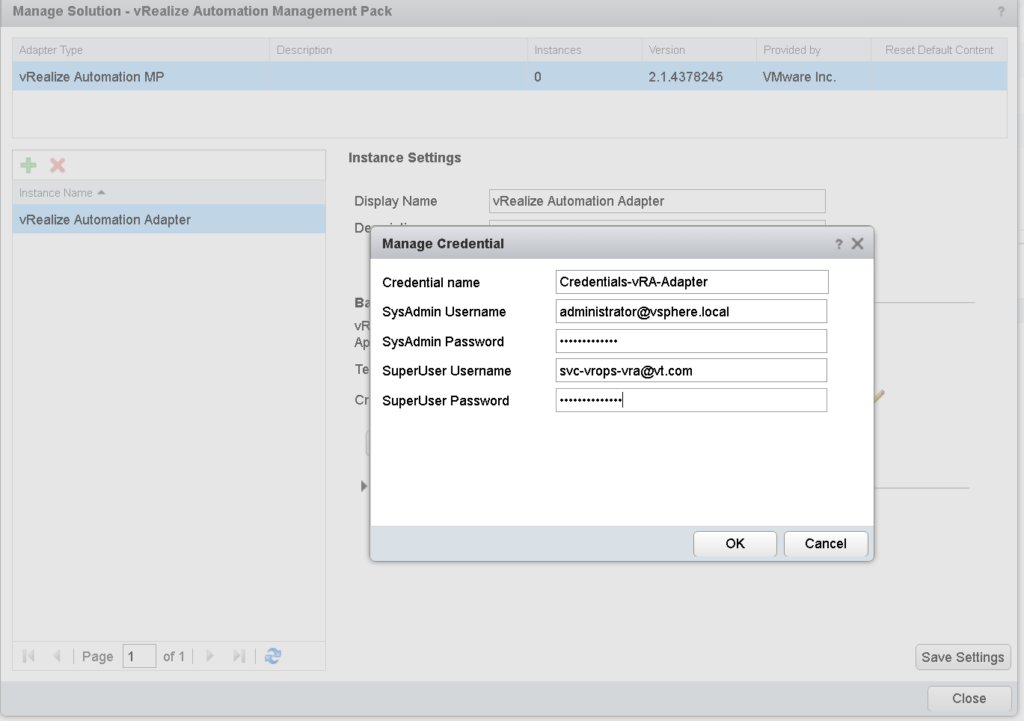 Providing vRA Credentials in the vROPs Managment Pack for vRA