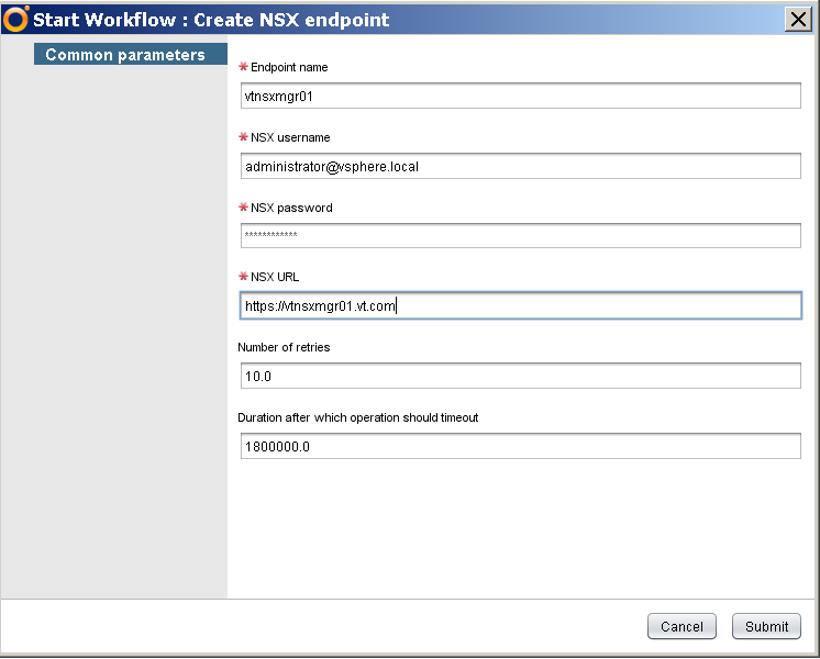 Running Create NSX endpoint in vRO