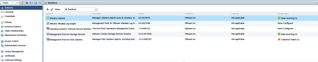 vROPs Solution Tab before installing vRA Management Pack