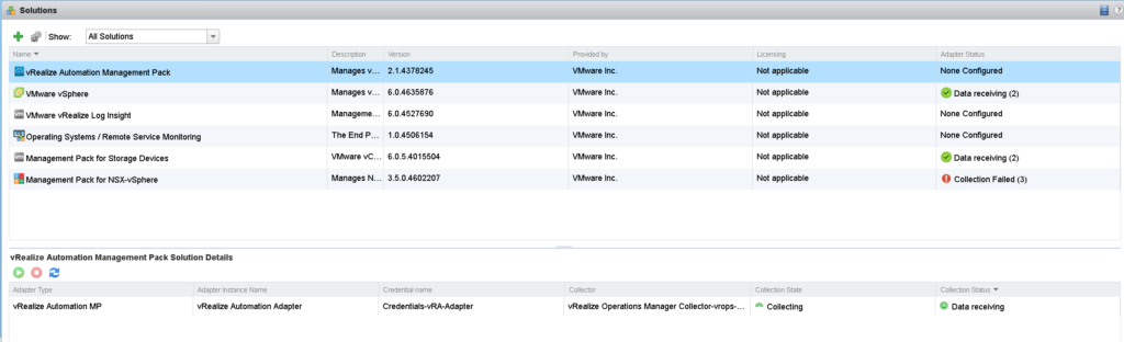 vRealize Automation MP Data receiving