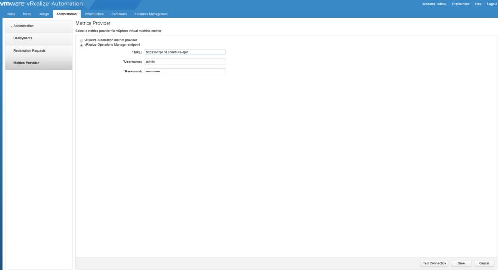 vRealize Automation Metrics Provider vROPs