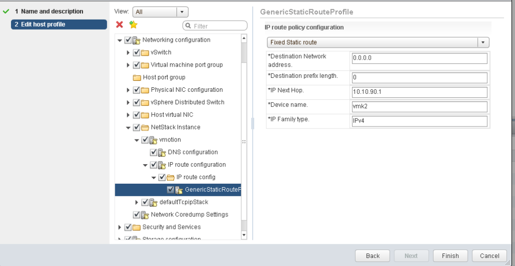 vSphere Host Profile Netstack Subprofile confi