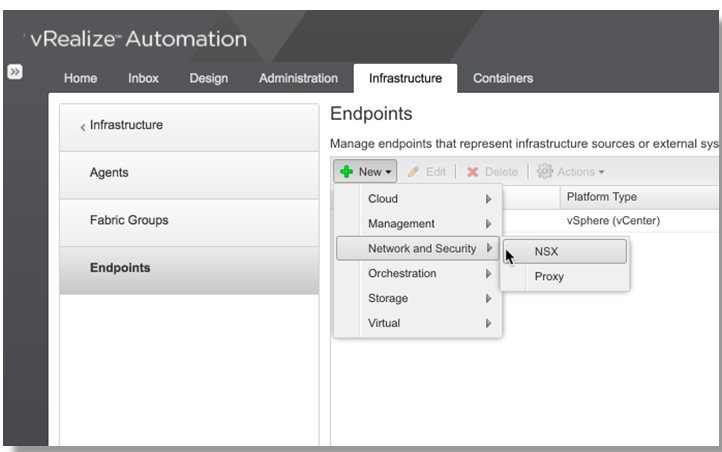 vRA 7.3 NSX Endpoint