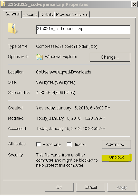 vCD CIP unblock cert before you extract it