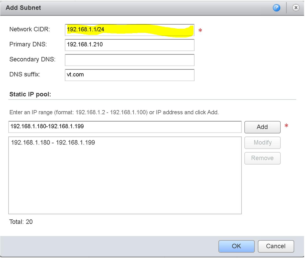 vCD Network CIDR to fix External Network Error
