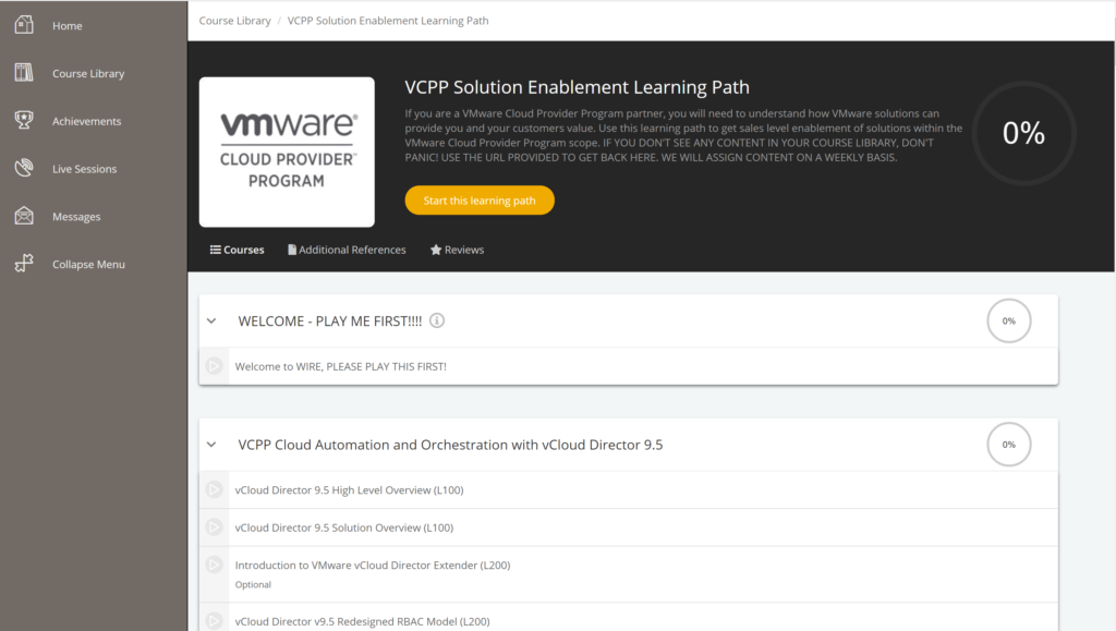 VMware Wire VCPP Solution Enablement Learning Path