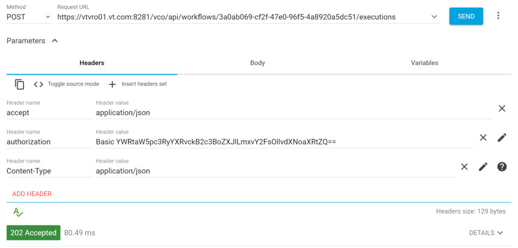 Rest API Call against vRO ran successfully