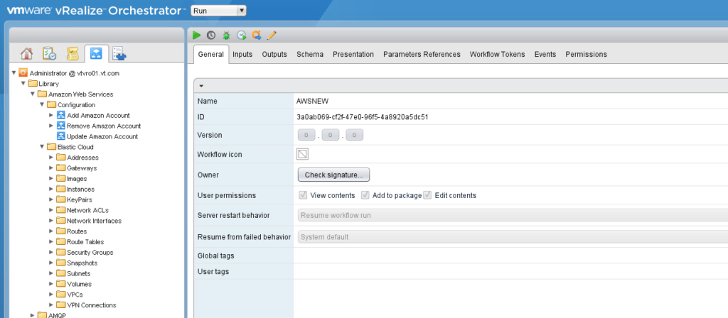 vRealize Orchestrator vRO Workflow ID