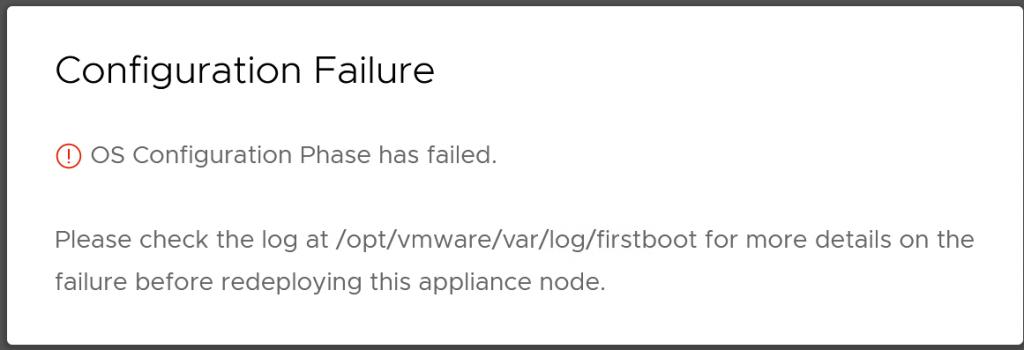 VMware Cloud Director 10.3 OS Configuration Phase has failed